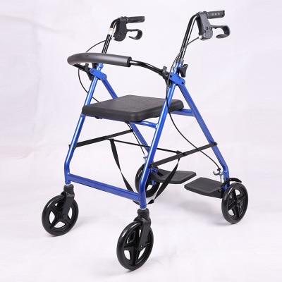 مشاية لكبار السن عربة مشاية سكوتر بأربعة عجلات مشاية مع مكابح يدوية قابلة للطي إعادة التأهيل ووكر
