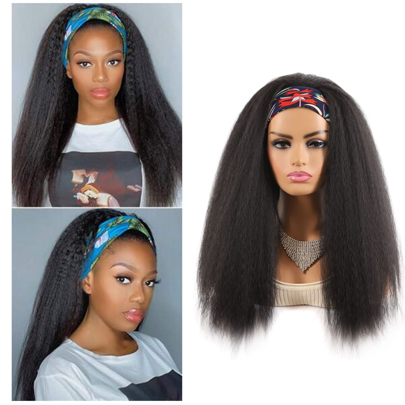 Long Synthetic Yaki Straight Headband Wigs Afro Kinky Curly Wig Cosplay Heat Resistant Hair Wigs With Headband For Black Women