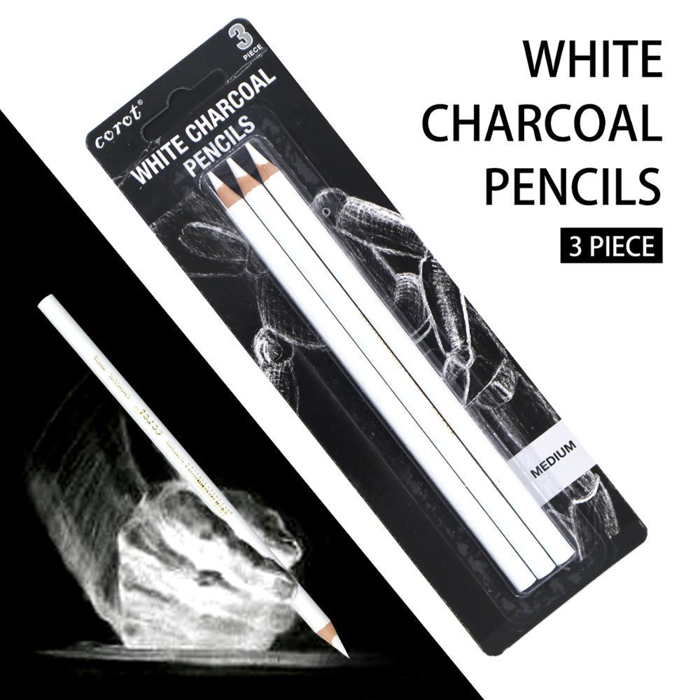 uni 9800 set drawing pencil drawing sketch pencil art wood pencil COROT 3Pcs White Sketch Charcoal Pencil Standard Pencil Drawing Pencils Set for Painter Painting Art Supplies