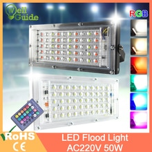 LED Flutlicht 50W RGB Led Flutlicht fernbedienung COB chip LED straße Lampe AC 220V 240V wasserdicht IP65 außen Beleuchtung
