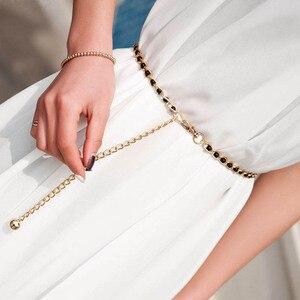 Модный Элегантный женский металлический Регулируемый тонкий пояс с цепочкой, женский ремень для платья, жемчужные декоративные аксессуары...