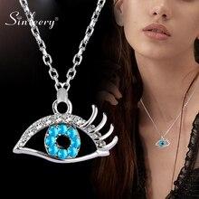 SINLEERY gros coeur clé croix bleu oeil coeur étoile de mer chat pendentif collier femmes argent couleur chaîne XL717 SSB