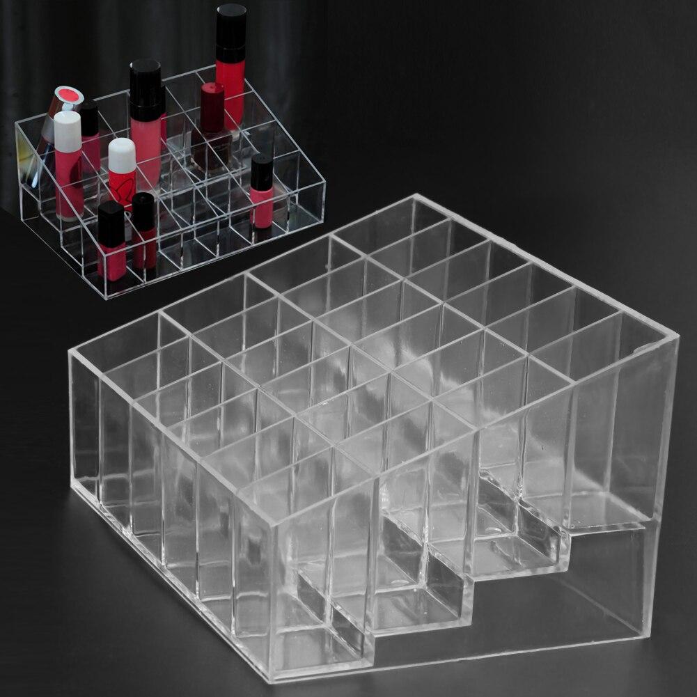 Clear Acrylic 24 Grid Makeup Organizer Storage Box Lipstick Nail Polish Display Stand Holder Cosmeti
