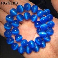 HGKLBB perles oeil de chat bleu moyen opale pierre ronde entretoises en vrac perles pour la fabrication de bijoux bracelets bricolage 15 brin 4/6/8/10/12mm