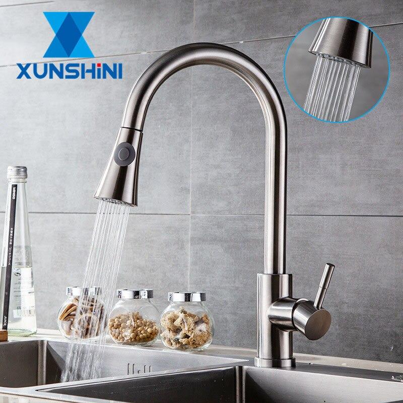 XUNSHINI 304 الفولاذ المقاوم للصدأ صنبور المطبخ ثقب واحد سحب صنبور خلاط حوض مطبخ الحنفية الكروم/أسود المطبخ الحنفية