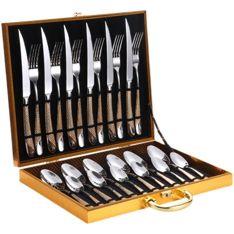 أطقم المائدة الفاخرة سكين شوكة ملعقة مجموعة أدوات المائدة 24 قطعة الفولاذ المقاوم للصدأ طقم أواني مائدة كاملة جهاز المطبخ مجموعات هدية