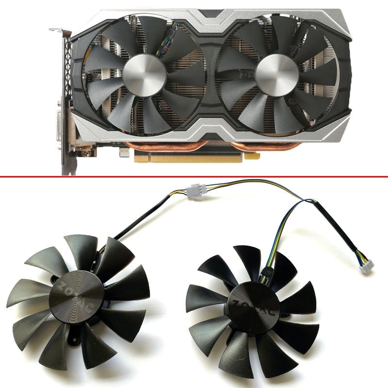 2PCS NEW GFY09010E12SPA 85MM 4PIN ETH Cooler Fan For  ZOTAC AMP 1060 6 GB GTX 1070 Mini Graphics Card Cooling Fan Video Card Fan