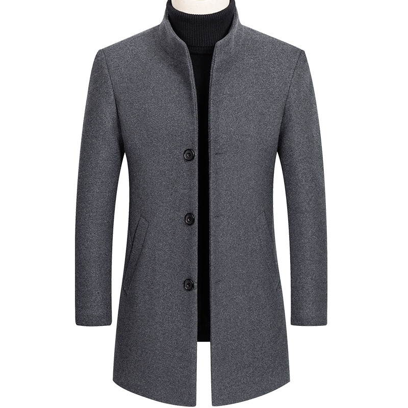Thoshine Brand Winter 30% Wool Men Thick Coats Slim Fit Stand Collar Male Fashion Wool Blend Outwear
