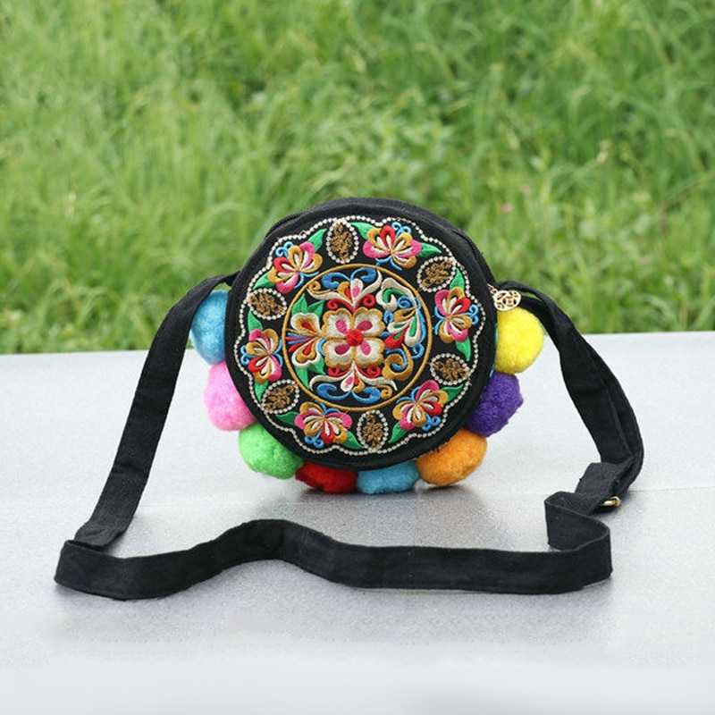 Women Shoulder Bag Hand Embroidery China Ethnic Style Pretty Flowers Color Contrast Cute Little Cotton Ball Casual Messenger Bag