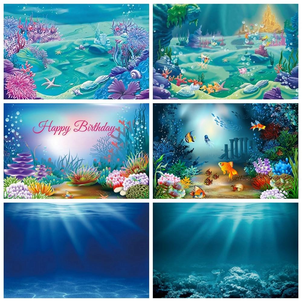 Mar oceano fundo do mar subaquático coral peixes castelo chuveiro do bebê festa de aniversário pano de fundo fotografia para photo studio atirar
