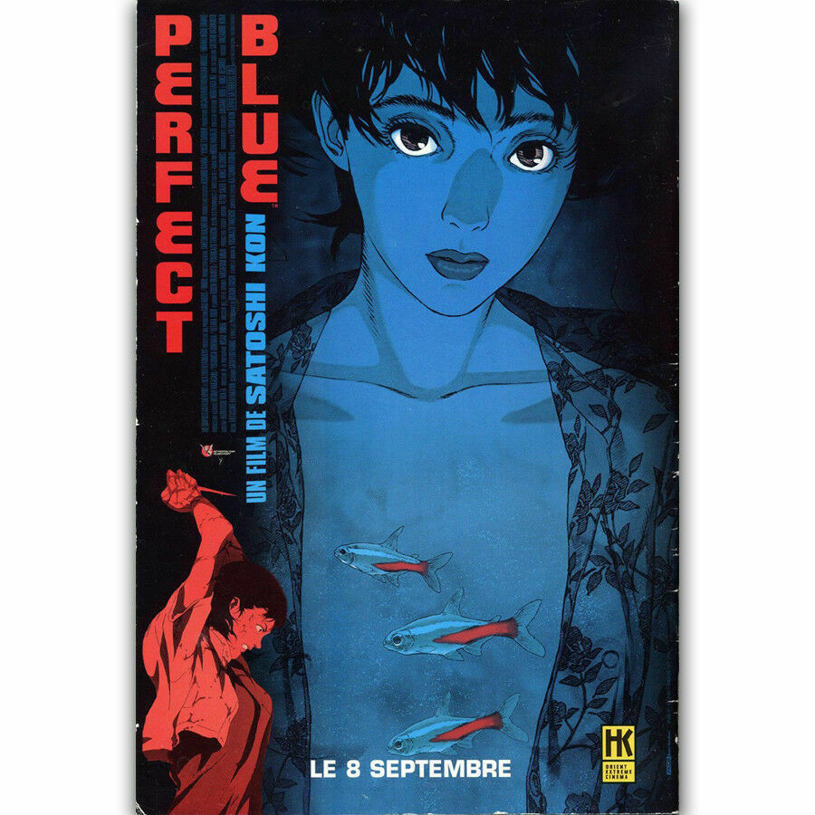 F290 caliente perfecto azul japonés Anime clásico Comic tela de seda película pared cartel decoración pegatina brillante