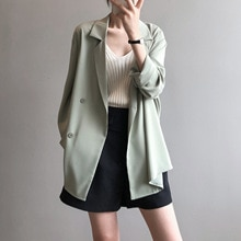 CMAZ Blazer Office Lady Work Long Sleeve Casual Summer Thin Coats Solid Loose Jackets Women Business
