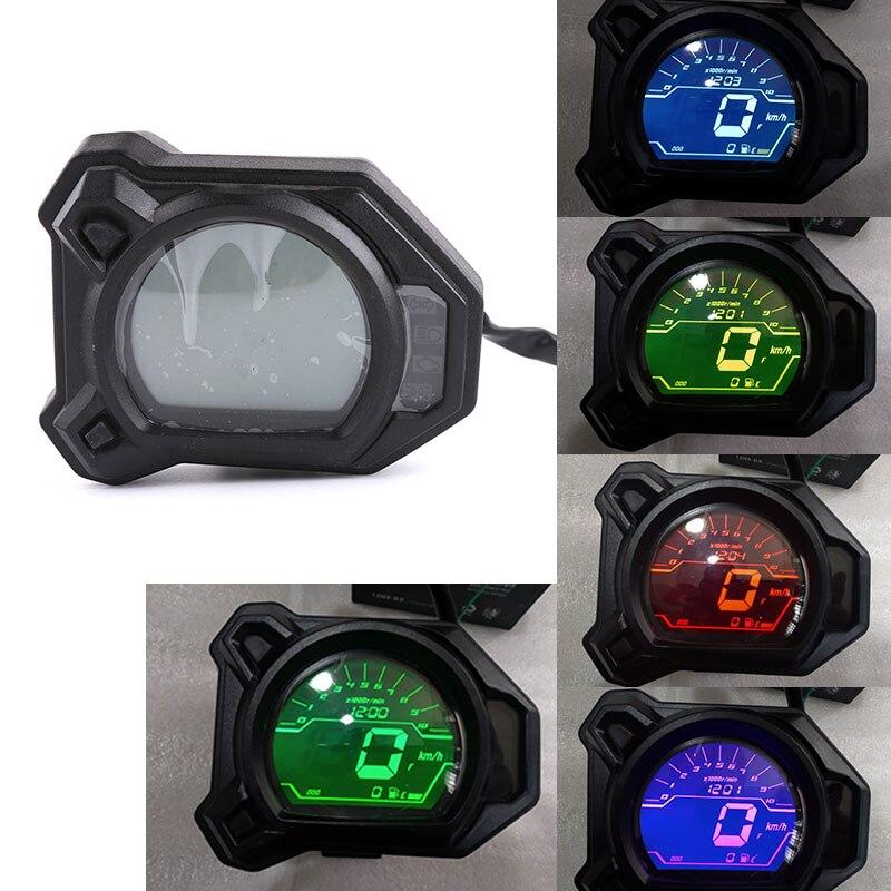 Para Yamaha BWS R 125 motocicleta LCD Digital velocímetro odómetro tacómetro Sensor de velocidad de consumo de combustible medidor de Mesa 7 colores