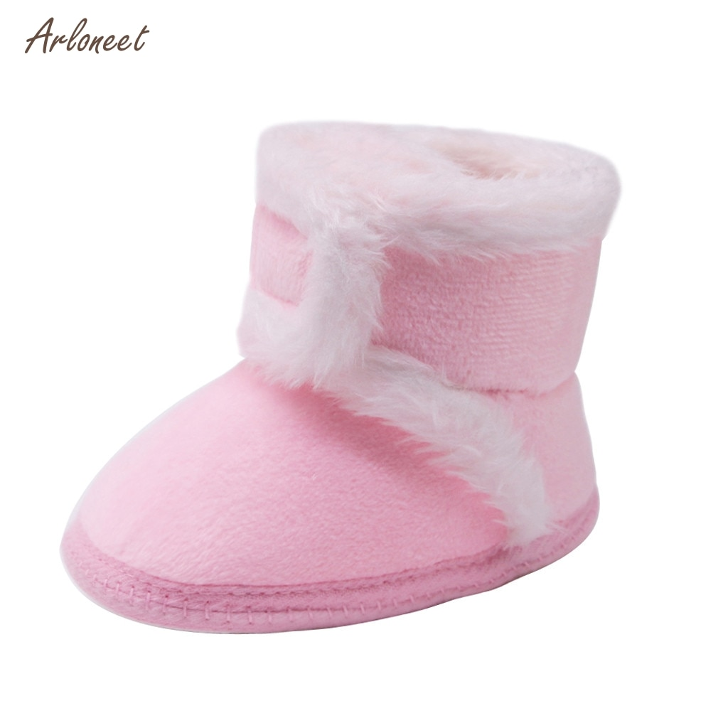 Botas de nieve calientes para niños bebé recién nacido niñas zapatos de princesa de invierno antideslizantes punta redonda plana niñas bebé bonitas botas