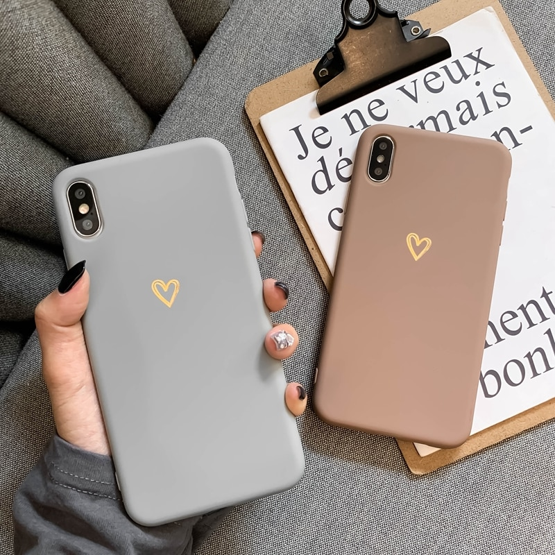 For iPhone 6 6s 7 8 Plus X XR XS MAX iPhone 12 11 Pro Max case Ultra-thin soft heart-shaped pattern