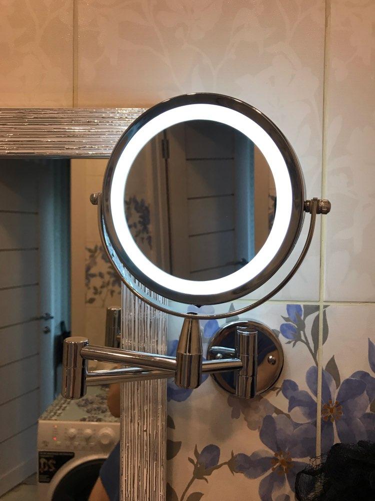 1x/5x ampliação led espelho de maquiagem fixado na parede espelho de banho ajustável 6 Polegada braço duplo estender 2-face espelho cosmético