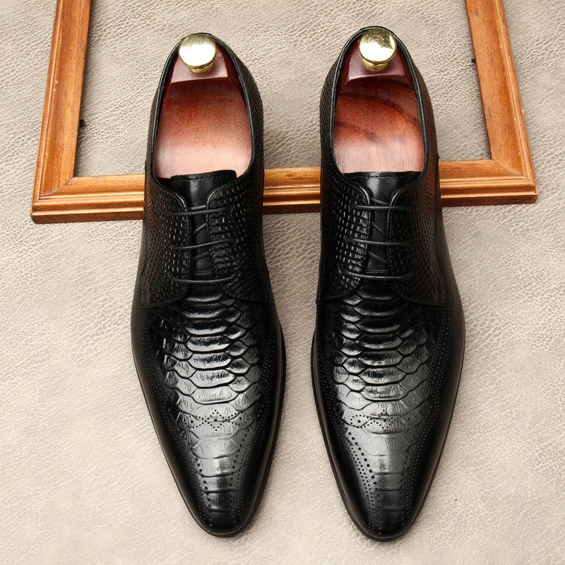 New Men's British Pointed Toe Alligator Pattern Genuine Leather Shoes Carved Business Dress Men's Ox