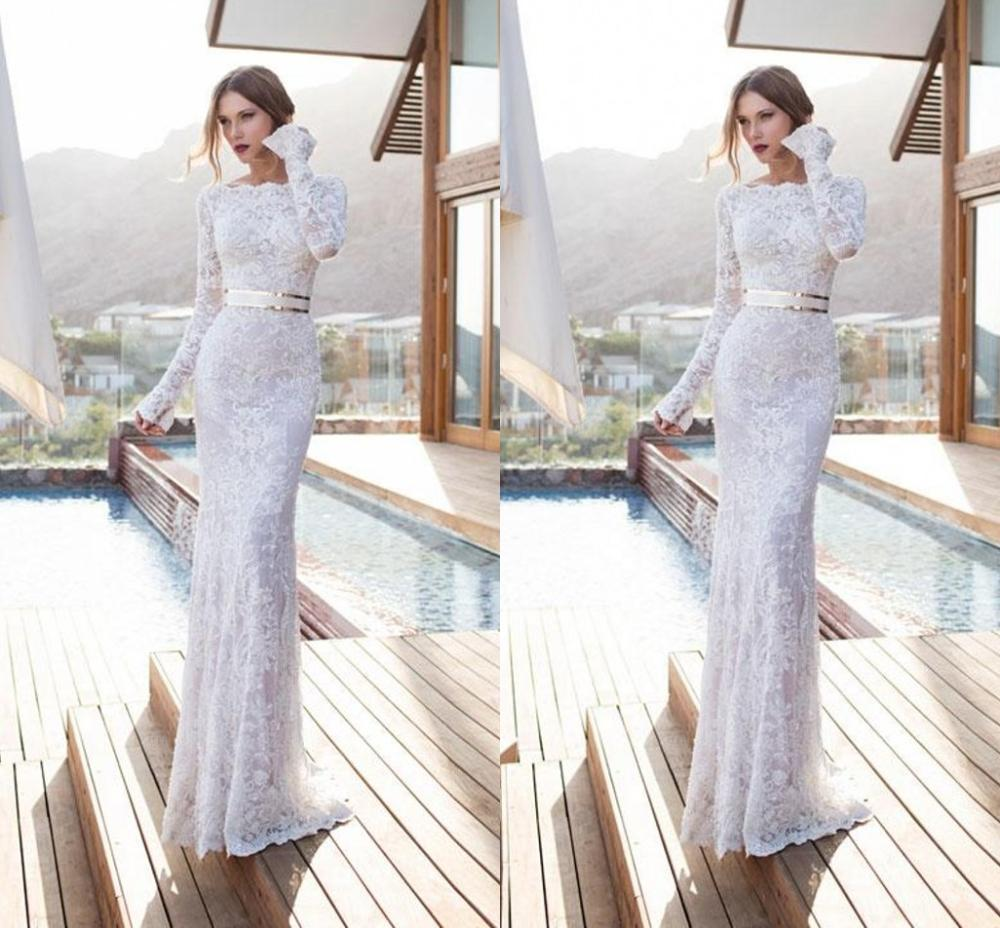 Sexy New Long Sleeves Wedding Dresses Jewel Lace Mermaid Bridal Gowns Sweep Train Beach Bridal Dress vestidos de noiva недорого