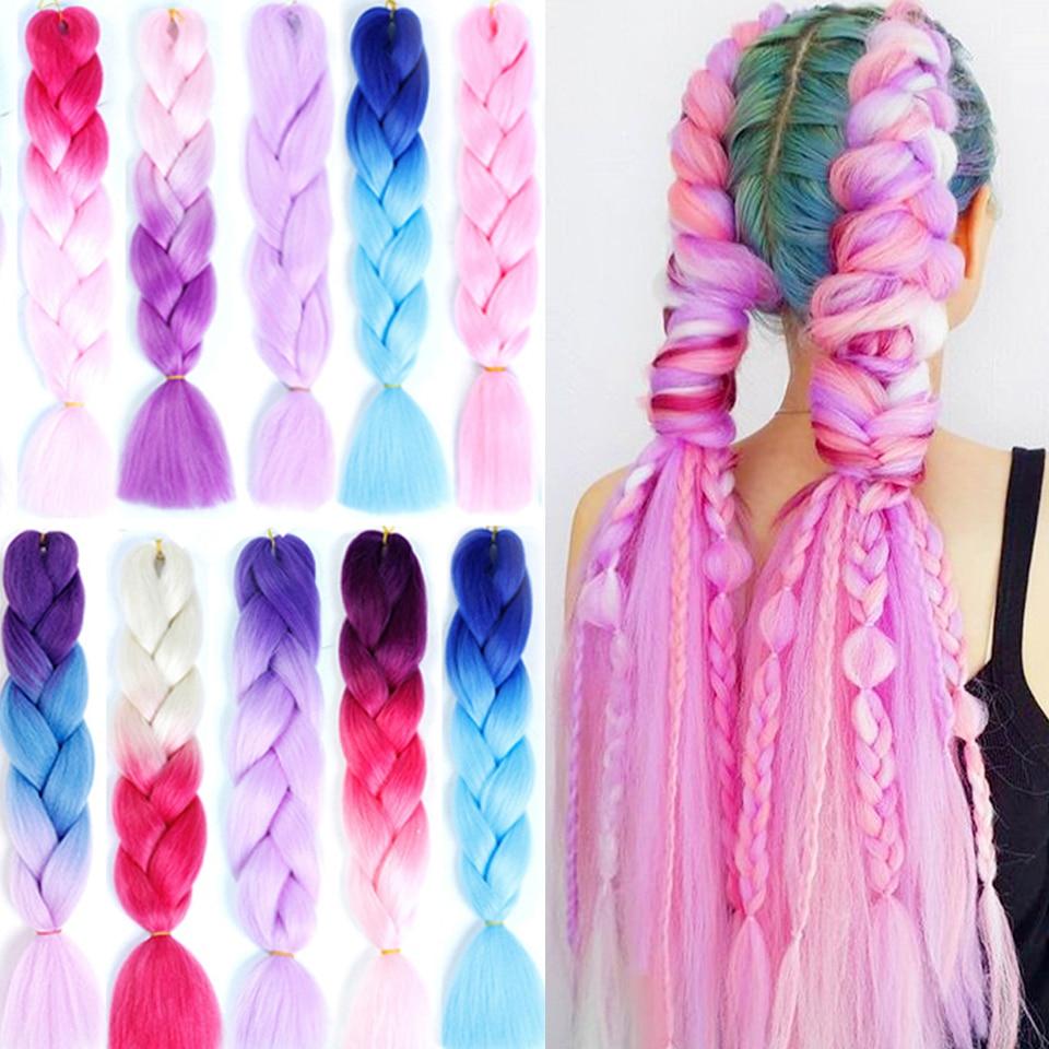 "100g/paquete 24 ""sintético Arco Iris Color Jumbo Kanekalon trenzas rosa púrpura rubia trenzas de Crochet ombré suave extensión del pelo"