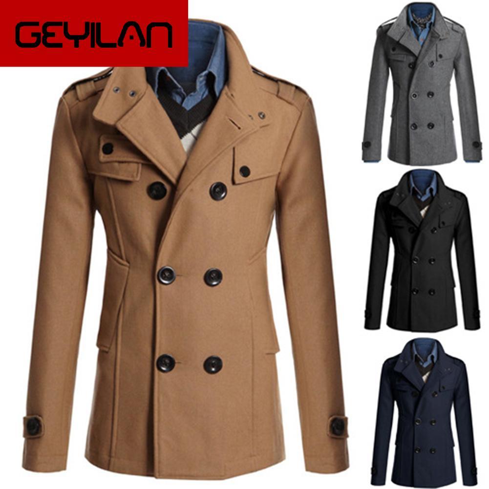 Men Long Sleeve Lapel Collar Double-breasted Pockets Woolen Slim Trench Coat Men's Slim Fit-Slim Fit