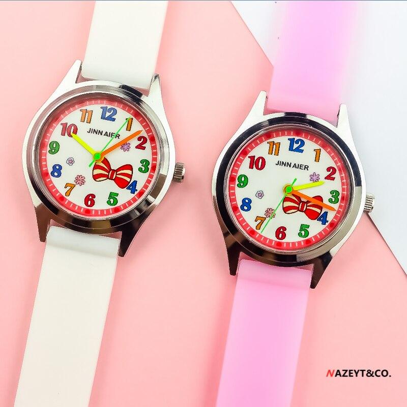 ¡Promoción! Reloj de pulsera para niños y niñas con lazo bonito y nudo, reloj de cuarzo de diseño fino para niños, reloj de regalo de gelatina