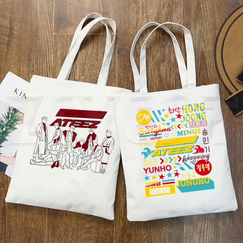 ATEEZ Say My Name Kpop estilo coreano Luv Hip Hop Hipster estampado de dibujos animados bolsas de compras chicas moda Casual Pacakge bolso de mano
