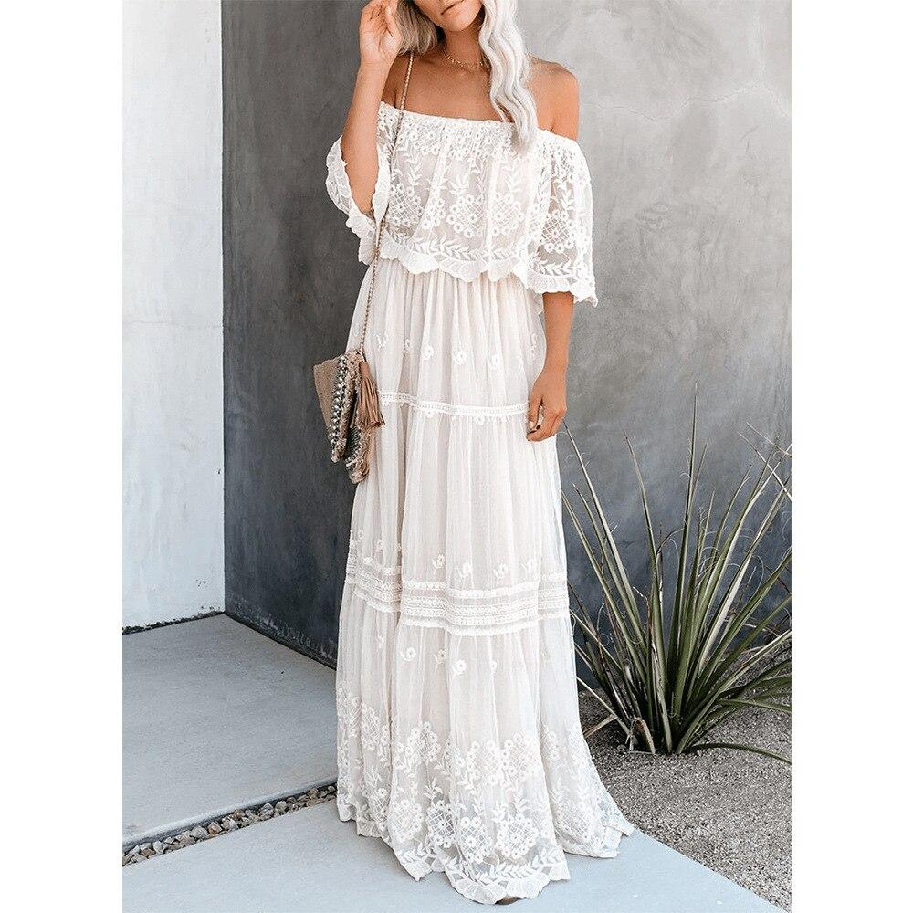 Maxivestido blanco de encaje con flores para mujer, vestidos sexis de Jacquard...