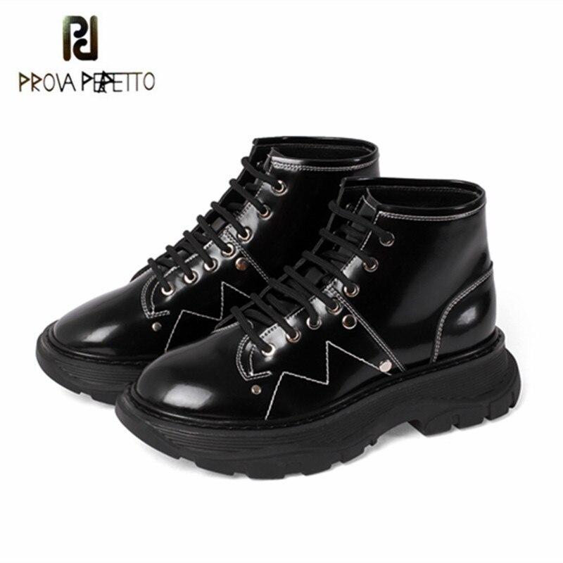 Prova Perfetto, botas cortas de cuero con cordones para mujer, botas de felpa con punta redonda y parte inferior gruesa, nuevas botas de fiesta, zapatos planos sexis para mujer