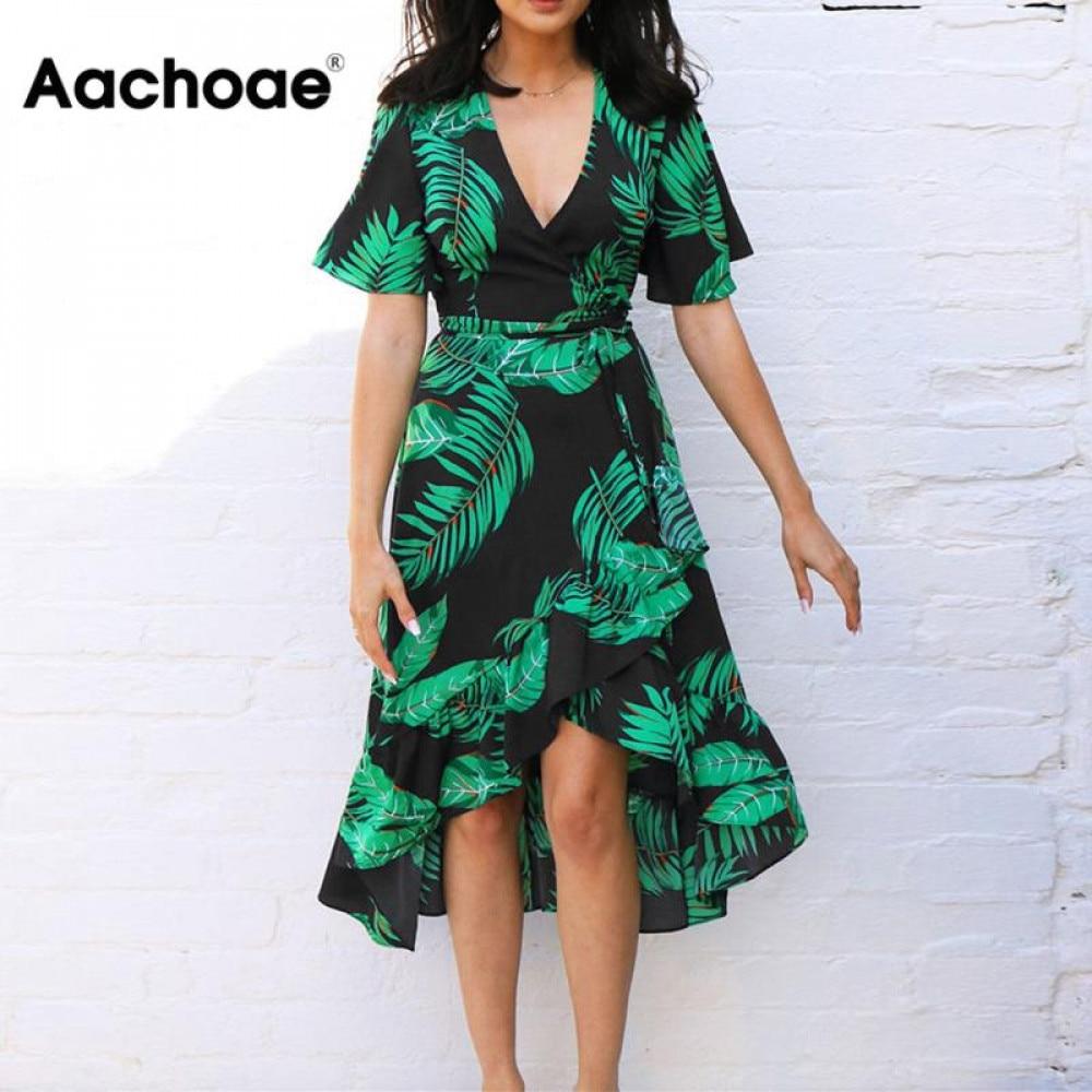 aliexpress - Aachoae Summer Floral Print Beach Long Dress Women Sexy Deep V Neck Party Dress Short Sleeve Casual Boho Bandage Dress Vestidos