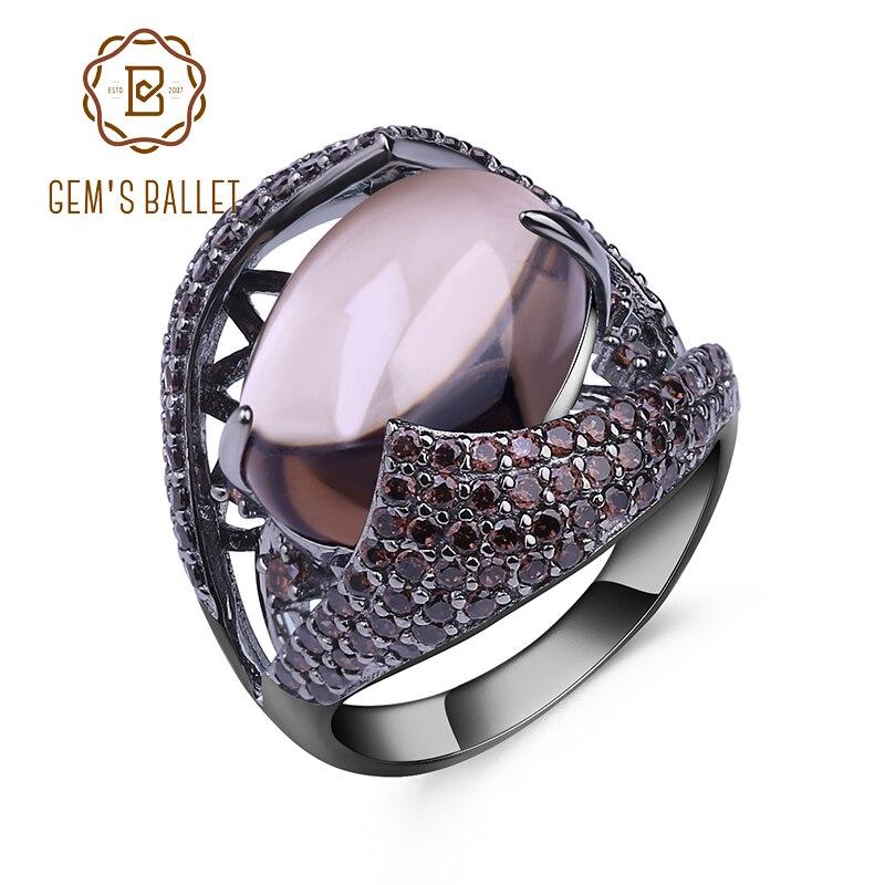 GEMS BALLET Natural Smoky gema de cuarzo anillo de cóctel 925 plata esterlina Vintage gótico anillos para las mujeres regalo fiesta joyería