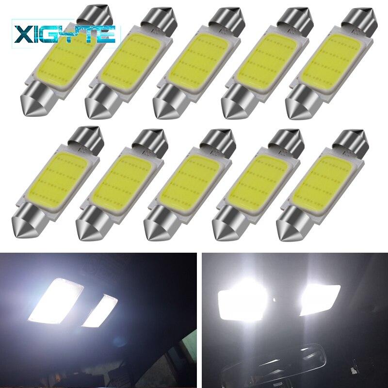 10 Uds estilo de coche C5W COB LED Dome bombilla 31/36/39/41mm DC 12V LED luz frontal doble coche Interior puerta lectura lámpara blanca