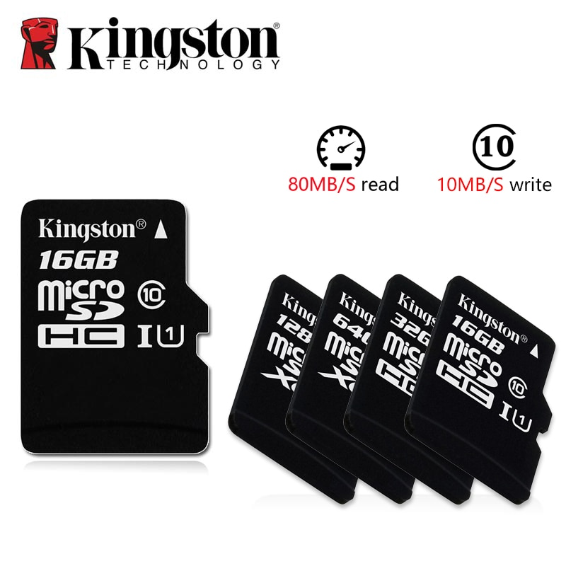 Kingston Microsd 8gb 16gb 32gb 64gb 128gb 256GB tarjeta de memoria Clase 10 SDHC TF tarjeta con adaptador de tarjeta/lector para iphone y portátil