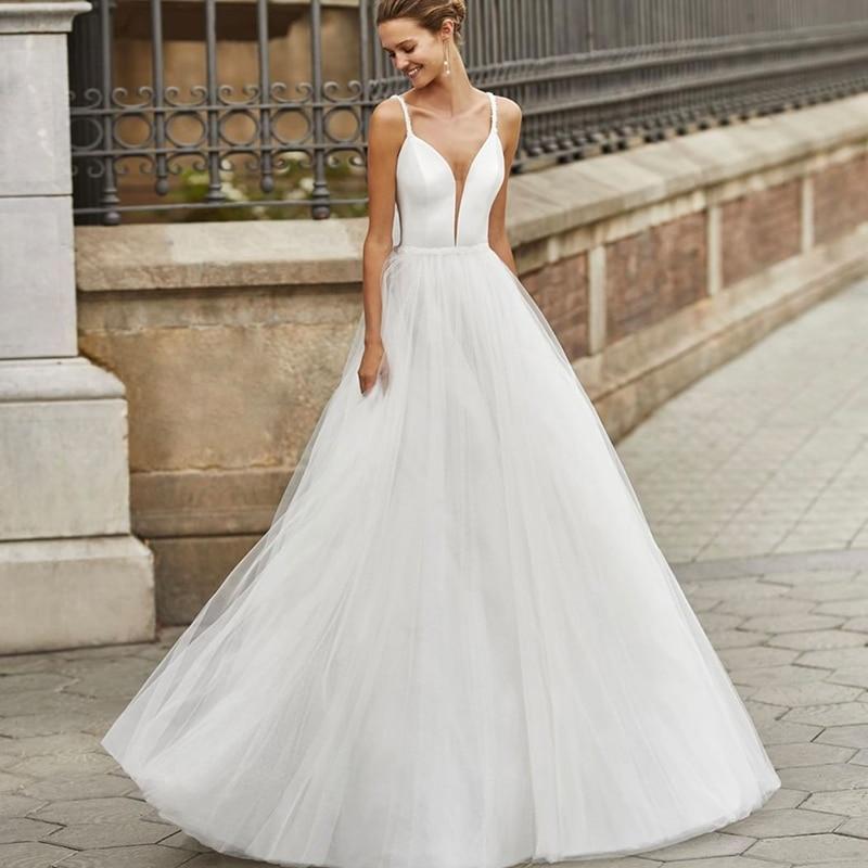Promo Simplicity Wedding Dress Tulle With A-line Floor Length V-neck Spahrtti Strap Half Sleeve Bride Customize Wedding Backless Bow