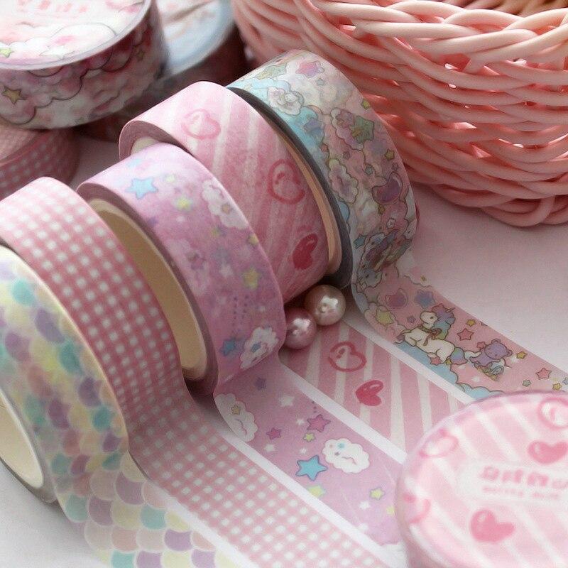 Conjunto de fita washi 15 mm de largura, fita colorida decorativa bonito para scrapbooking, revistas de bala, planejadores, decoração diy e suprimentos de artesanato