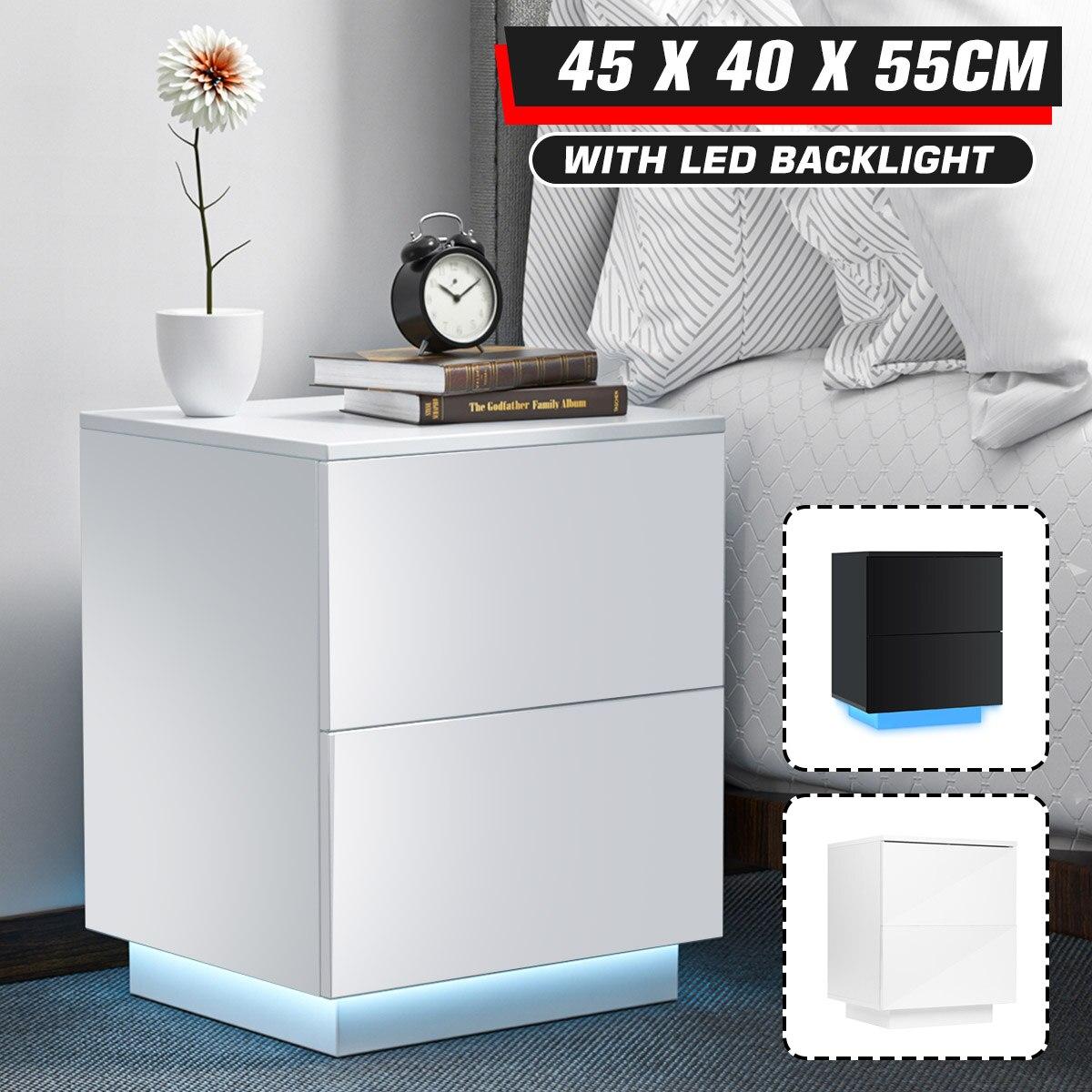 LED طاولات صغيرة بجوار السرير الأثاث الحديثة منضدة حافظة ملفات التخزين المنظم أثاث غرفة نوم طاولة جانبية للسرير 2 خزانة أدراج
