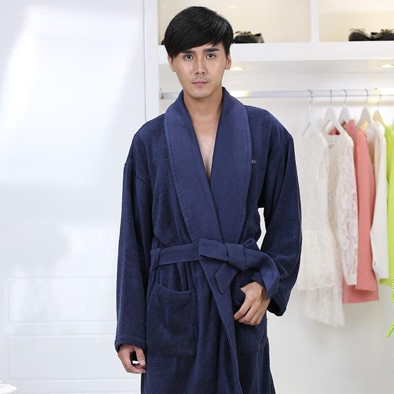 Men Bathrobe Winter Thicken Warm Towel Fleece Bath Robe Long Plus Size Lovers Couples Night Dressing Gown Men Nightgown