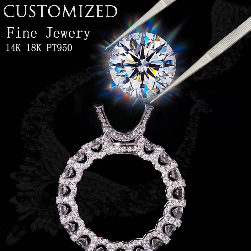 Diamante real personalizado da joia no ouro 18k