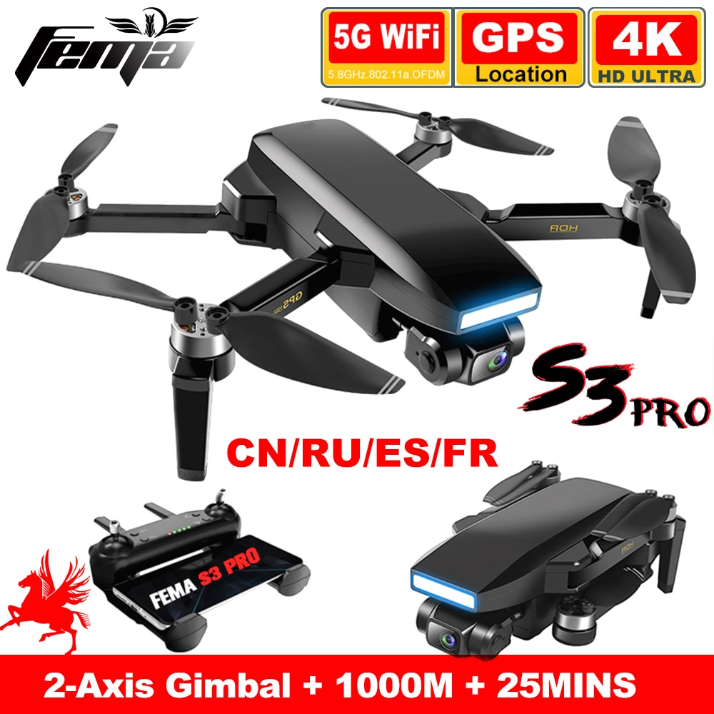 FEMA S3 Pro GPS Drone With Camera 4k HD 5G WiFi dron Brushless FPV drone 25mins Long Distance 1km professional quadcopter