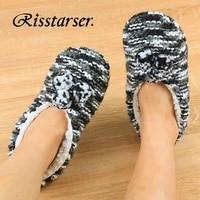 women winter home socks slippers crochet cotton shoes soft plush indoor slippers for women pom pom couple warm fur slippers