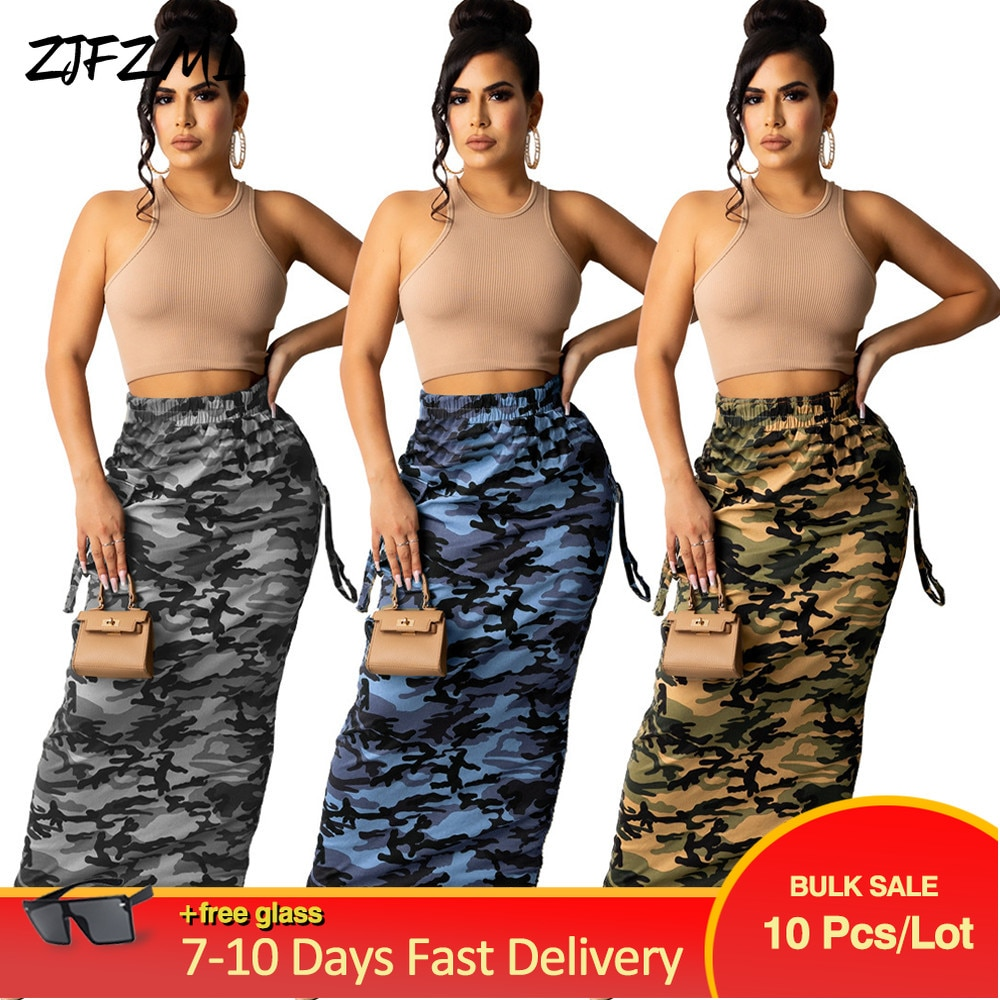 Bulk Items Wholesale Lots Women's Camo Bodycon Maxi Skirts Y2K Festival Clothing Streetwear Party Clubwear Birthday Slim Skirt