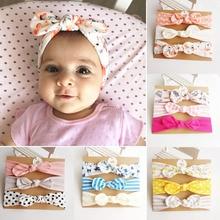 Bandeau doreille de lapin pour filles   3 pièces, bandeau fleur Neonata bébé, nœuds Turban Haarband, accessoires pour cheveux nouveau-né fille