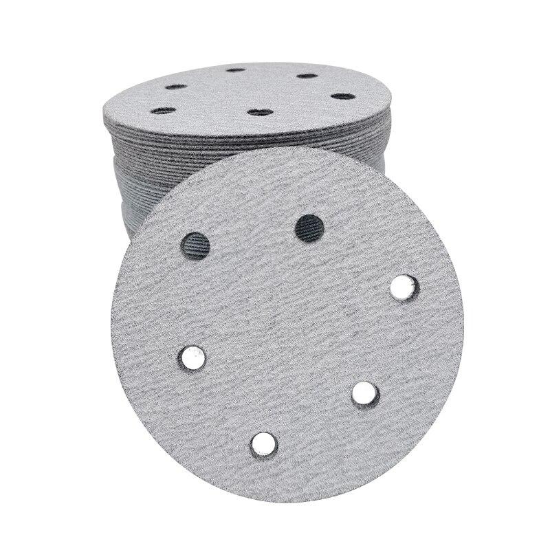 Наждачная бумага 5 дюймов, 6 отверстий, круглая, флокирующая, наждачная бумага, пневматическая наждачная бумага, самоклеящийся диск 125 мм