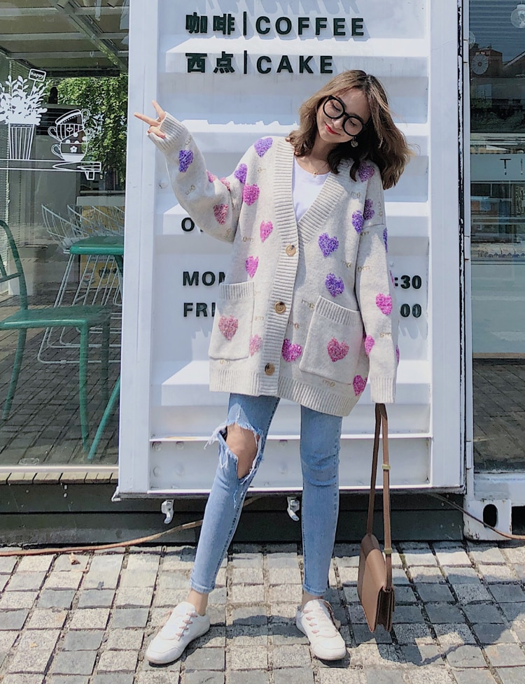 Women Long Oversized Cardigan 2019 Thick Autumn Winter Outwear Lazy Oaf V Neck Heart Jacquard Thick Loose Knitted Sweater Coat enlarge