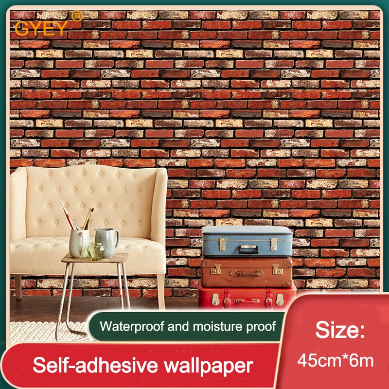 Ретро кирпич шаблон 3D стерео стикер стены красный кирпич стены Бумага самоклеющиеся водонепроницаемый влагостойкий и плесени-доказательс...