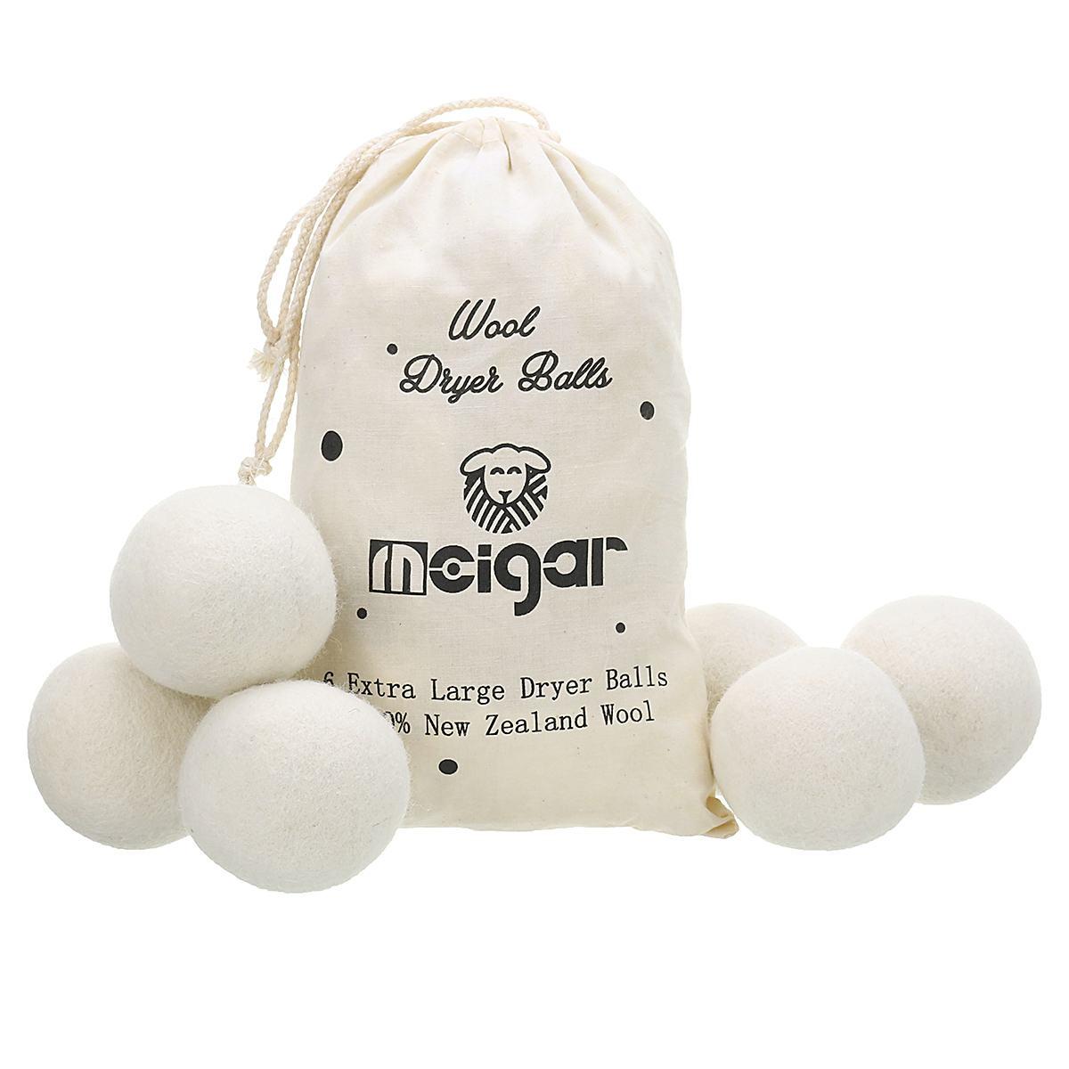 6 pçs/set MEIGAR Reutilizáveis Lavanderia Limpo Secador de Bolas de Lã Macia de Tecido Orgânico Prémio Bola Luandry 7cm + Saco de Lavagem