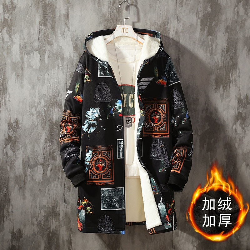 autumn winter mens wool liner long hooded parka warm printed thick coat casual size m xxxxxl t188 Autumn Winter Mens Wool Liner Long Hooded Parka Warm Printed Thick Coat Casual Size M-XXXXXL T188