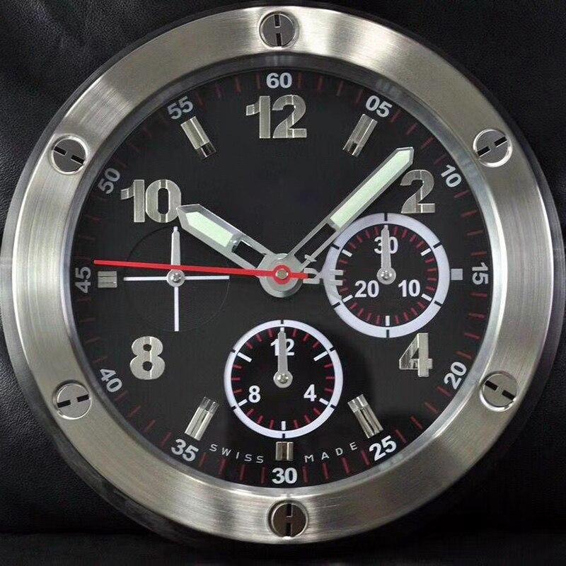 Reloj de pared nórdico de diseño moderno luminoso de Metal de lujo Reloj de pared reloj silencioso grandes calendarios de oficina Horloge sala de estar D107