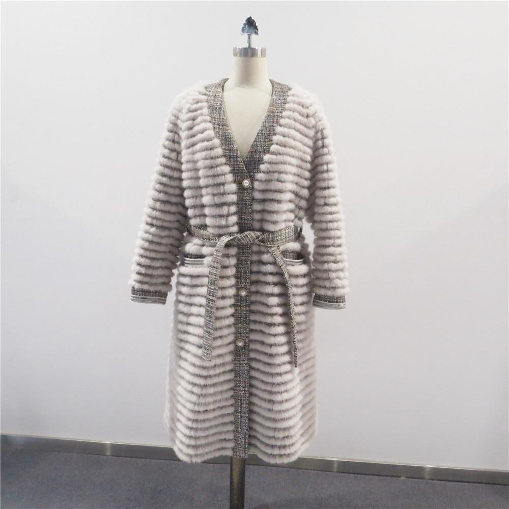 2021 جديد الخريف والشتاء النساء شعبية الموضة الدافئة مريحة عادية الخامس الرقبة الطبيعية حقيقية حقيقية المنك حزام تنحيف معطف طويل