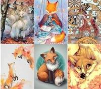 Peinture diamant theme  Cartoon Animal Fox  5D  autocollant  croix carree  artisanat dart  couture  cadeau de decoration de salle  bricolage  nouvelle collection