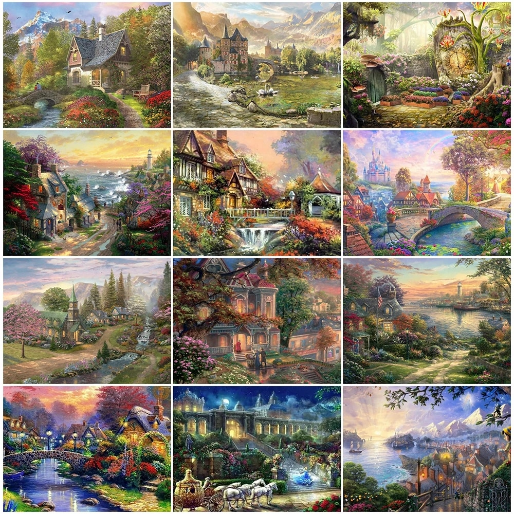 Full Square 5D Diy Diamond Painting Castle 3D Diamond Embroidery House Landscape Picture Of Rhinestones Mosaic Home Decor Bh154